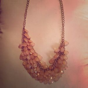 Peach and gold statement necklace